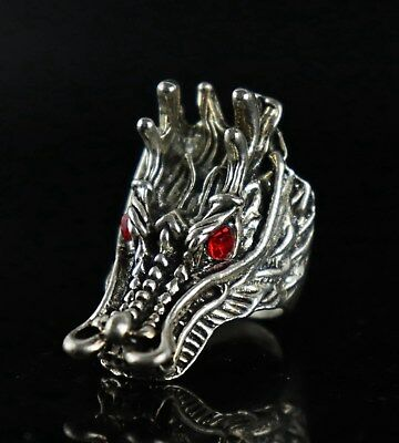 China Tibet Silver Carve Ancient Myth Dragon Head Exquisite Boy Decor Ring Gift