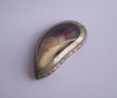Antique Georgian Victorian Silver Plate Copper Hinged Mussel Shell Snuff Box