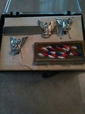 Vintage Eagle Scout Cuff Links,Tie Clip And Eagle Scout Knot Patch