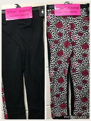 NWT Betsey Johnson Floral Leopard & black Solid Knit Leggings - Pack of 2