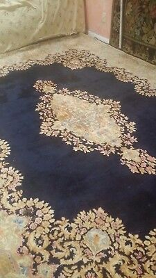 Beautiful Rug Navy Blue with pastel colors Large room rug Great Deal! authentic!