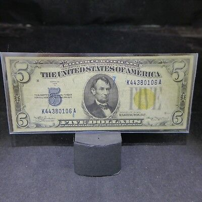 1934-A North Africa Yellow Seal $5 Silver Certificate! -  NO RESERVE!