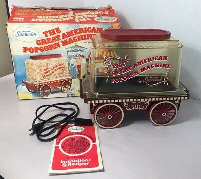 Vintage Sunbeam The Great American Popcorn Machine Covered Wagon Corn Popper