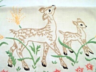Vintage Lot of 2 Pcs. Cotton Runners *Embroidery* Deer & Flowers Sewing