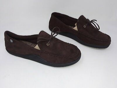 b9b269d4e81 NEW! MEN S ISOTONER Moccasin Style House Slippers Dark Brown 28Y ...