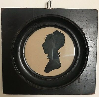 Antique Framed Cut Paper Silhouette Of A Woman Elk Neck, Cecil County Maryland