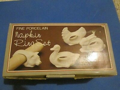 Fine Porcelain Napkin Ring Set of 4 Animals