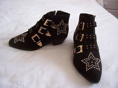 Ladies Primark Black Faux Suede Gold Studded Ankle Boots Size 5 Worn Twice