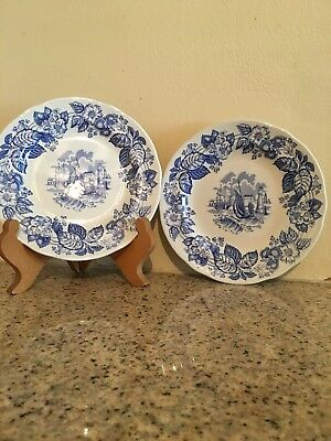 Pair Of Spode Old Salem Blue Room Collection Salad Plates . Excellent Condition.