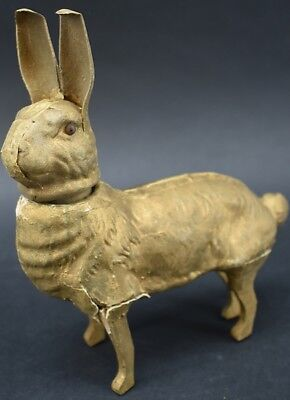 "Antique 7 1/2"" Rabbit Composition Easter Candy Container"