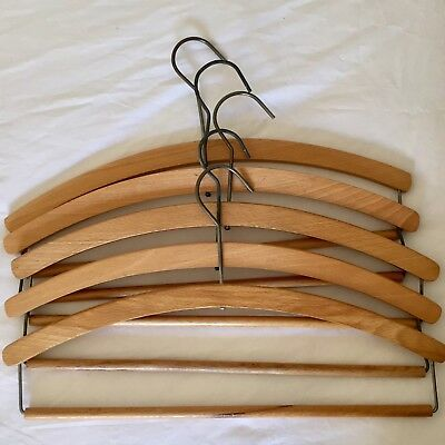 5 high quality traditional vintage wooden clothes hangers trousers suit