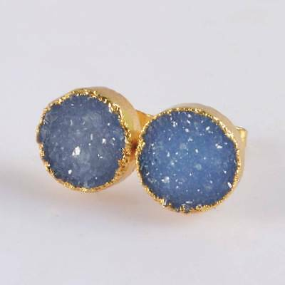 12mm Round Blue Agate Druzy Geode Stud Earrings Gold Plated T068388