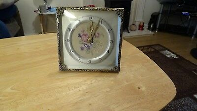 Vintage Dressing Table Clock With Lace Floral Clock Face.made In England