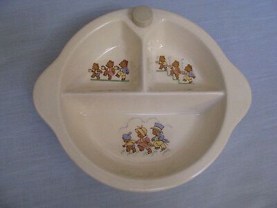 Ceramic Water Heated Divided Baby Dish w Stopper 3 Little Bears Nursery Decor VT