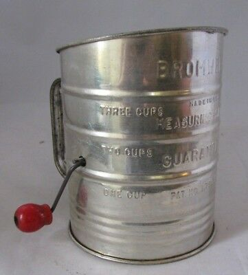 Vintage Bromwell 3 Cup Flour Sifter Farmhouse Decor Red Handle