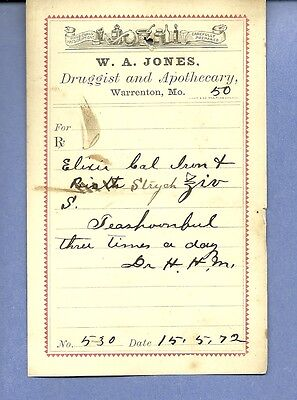 1872 WA Jones Druggist Apothecary Warrenton Missouri Prescription Receipt No 530