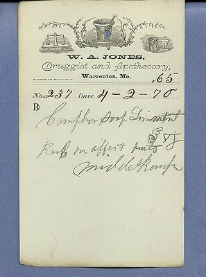 1870 WA Jones Druggist Apothecary Warrenton Missouri Prescription Receipt No 237