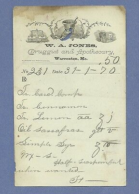 1870 WA Jones Druggist Apothecary Warrenton Missouri Prescription Receipt No 231