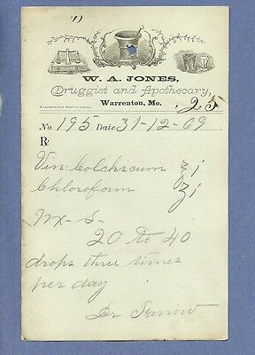 1869 WA Jones Druggist Apothecary Warrenton Missouri Prescription Receipt No 195