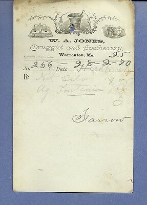 1870 WA Jones Druggist Apothecary Warrenton Missouri Prescription Receipt No 256