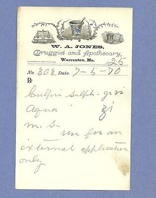 1870 WA Jones Druggist Apothecary Warrenton Missouri Prescription Receipt No 303