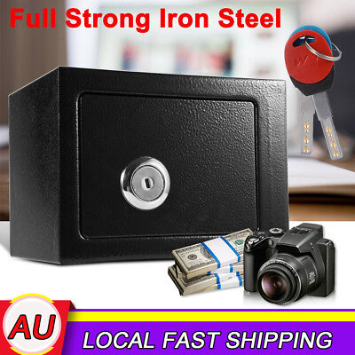 Strong Iron Steel Key Operated Money Cash Files Safe Box Security Home Office AU