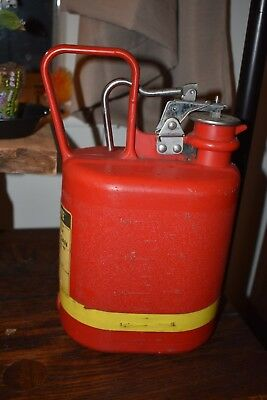 Justrite One Gallon Red Plastic Safety Can, Stainless Steel Fittings, Good Used