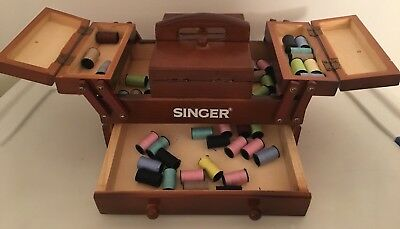 Singer Wood Sewing Box - Missing 1 Foot