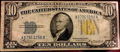 1934 $10 North Africa Wwii Silver Certificate