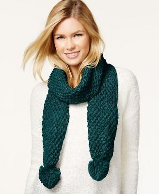 Rampage Women's Metallic Knit Pom Pom Scarf, Teal