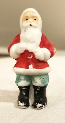 Miniature Bisque Santa Santa Claus, blue Pants.   Early 1920s German Figure