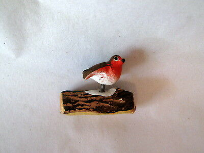 Tiny Vintage German Christmas Putz Bird on Log; Excellent!