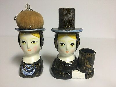 Vtg Lady Head PIN CUSHION&THIMBLE or LIPSTICK HOLDER~Hand Painted~Paper Mache