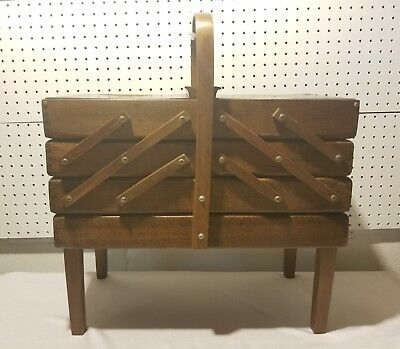 Vtg Fold Out Accordion Wood Sewing Box Cabinet Made In Romania