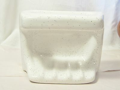 Vintage Porcelain Tub Wall Soap Dish With  Grab Handle / White With Gray Speckel