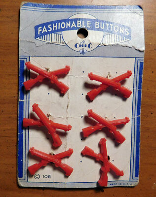 Vintage Fashionable Buttons Red Plastic Guns One Inch Buttons set of 6