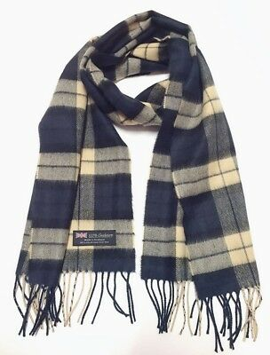 100% CASHMERE Scarf Navy Blue Tan Check Plaid Warm Graham SCOTLAND Wool Wrap Men