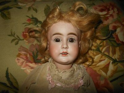 "18"" KESTNER BISQUE DOLL w/ KID BODY 4 TEETH PLASTER PATE BROWN EYES MARKED D 8"