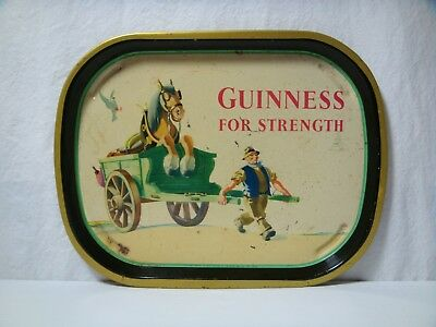 Vintage 1950s John Gilroy Guinness For Strength Tin Litho Beer Tray Horse & Dray