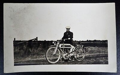 Vintage Motorcycle Rppc Rider With Goggles Cyko Stampbox Real Photo Postcard
