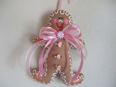 CoLLecTiBLe SeASoNaL shabby pink roses hand painted GiNGerBread BOY  OrNaMeNT