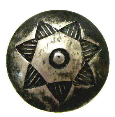 Nice Old Sterling Silver Concho Button With Star Design C4