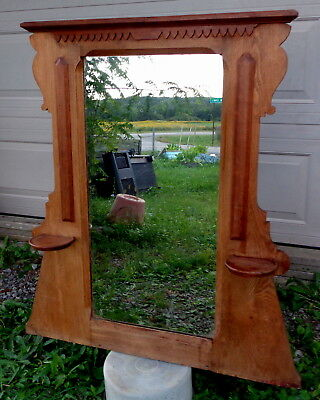 "Antique vintage hardwood candle holder vanity mirror 43"" tall 39"" wide VERY GOOD"