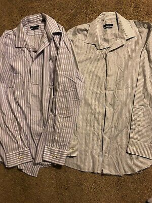 0edfeb7e4 Mens SZ 17 34-35 Button Down Shirt Marc Anthony Slim Fit Pin Stripe Gray