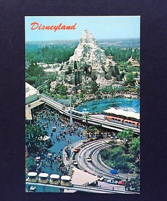 DISNEYLAND Postcard  AERIAL VIEW Autopia MONORAIL Station PEOPLEMOVER Skyway HTF