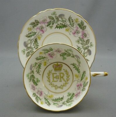 1953 Queen Elizabeth Coronation Wide Brim Paragon England Bone China Tea Cup Duo