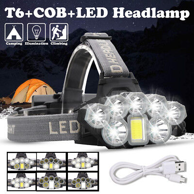 120000LM T6 8x LED Headlamp Rechargeable Head Light Flashlight Torch Lamp