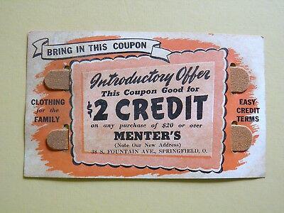 Springfield Ohio Menter's Clothing Coupon 1930's-1940's