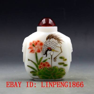 Antique Chinese Glass Hand-painted Crane & Lotus Snuff Bottles L118