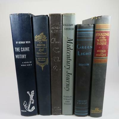 Lot of 6 Vintage Books Library Blue Navy Staging Decor Stack Prop Wedding 003